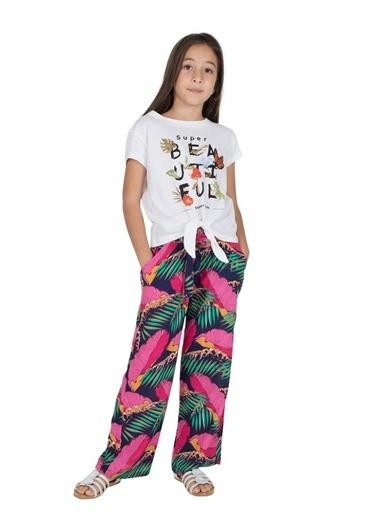 Silversun Kids Kız Genç Desenli Belden Bağlamalı Pantolon Pc 316216 Kırmızı